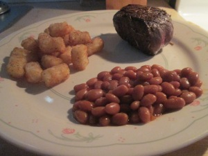 5 oz. Petite Buffalo Top Sirloin Steak w Tater Tots and Baked Be 010