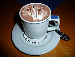 A cup of hot chocolate with whipped cream and cocoa powder