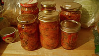 Ajvar and other pickles in a home larder