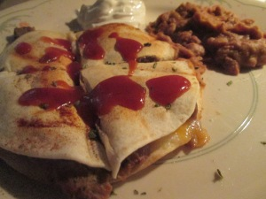 Beef Quesadillas w Refried Beans 011