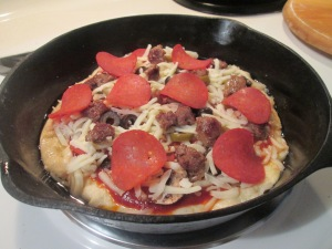 Cast Iron Skillet Pizza – Turkey Pepperoni and Turkey Sausage 003