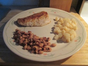 Fried Wallye Fillets w Black - Eyed Peas and Diced New Potatoes 004