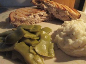 Leftovers Turkey Panini w Mashed Potatoes and Italian Cut Green 013