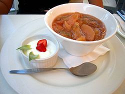 A rhubarb and apple compote