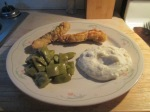 Baked Chicken Breast Strips w Mashed Potatoes and Cut Italian Gr009
