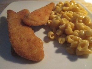 Breaded Chicken Breast Tenders w Velveeta Shells and Cheese 019