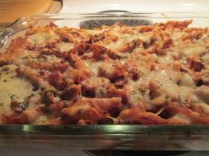 Cheesy Stuffed Turkey Sausage Pasta Bake w Baked French Bread 013