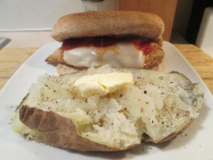 Chicken Parmesan Sandwich w Baked Potato 004