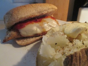 Chicken Parmesan Sandwich w Baked Potato 008