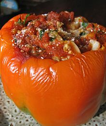 Stuffed orange pepper