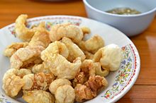 A bowl of pork rinds