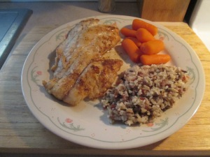 Blackened Gulf Coast Grouper w Multi Grain Medley and Baby Carro 003