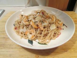 Cilantro and Lime Seasoned Shrimp w Thin Spaghetti and Baked Ita 006