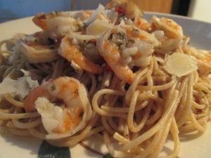 Cilantro and Lime Seasoned Shrimp w Thin Spaghetti and Baked Ita 010