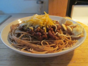 Cincinnati Style 4 Way – Spaghetti, 3 Bean Buffalo Chili, and Ch 012