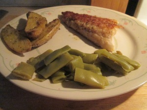 Fried Walleye w Cut Italian Beans and Baked Fingerling Potatoes 002