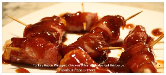 Turkey Bacon Wrapped Chicken Bites With Apricot Barbecue