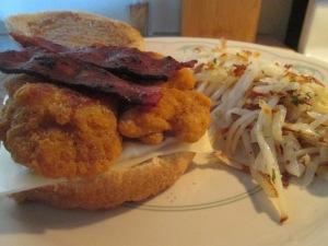 Chicken, Turkey Bacon, and Swiss Sandwich w Hash Browns 013