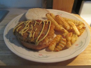 Cubed Pork Steak Sandwich w Baked Fries 007
