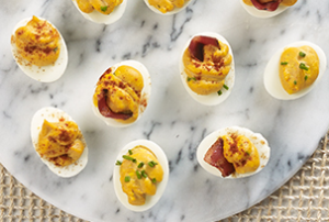 Deviled Eggs with Bacon and BBQ