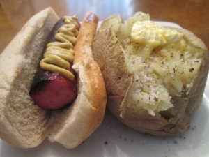 Smoked Turkey Sausage Dogs w Baked Potato 012