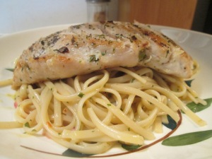 Thin Cut Chicken Breasts w Olive Oil and Italian Herb Linguine 014