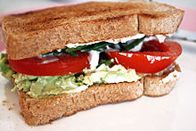 Vegan sandwich with egg-free mayo