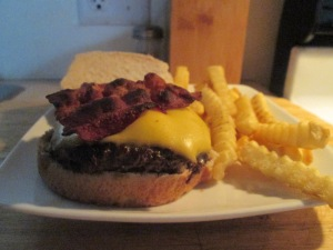 Bacon and Cheese Buffalo Burger w Baked Fries 008