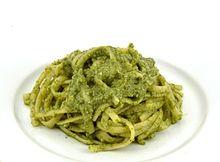 Linguine with basil pesto