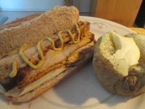 Thin Sliced Pork Tenderloin Hoagie w Baked Potato 007