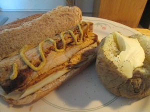 Thin Sliced Pork Tenderloin Hoagie w Baked Potato 007