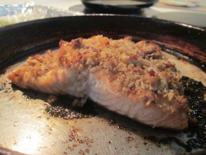 Walnut Crusted Salmon w Brown and Wild Rice and Asparagus 004