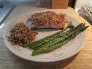 Walnut Crusted Salmon w Brown and Wild Rice and Asparagus 011