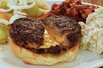 A cheddar-stuffed cheeseburger