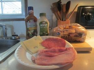 Baked Ham, Salami, and Swiss Mini Sub w Baked Crinkle Fries 002