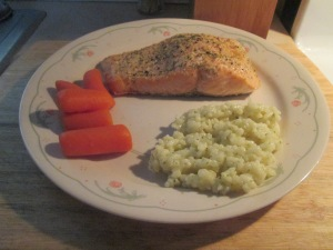 Baked Salmon W Creamy Parmesan Risotto and Whole Baby Carrots 008