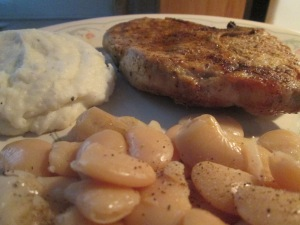 Cumin Spiced Pork Chop w Mashed Potatoes,Seasoned Butter Beans 004