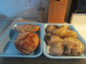 Giant Garlic Shrimp, Stuffed Clams, and Baked Potato 001