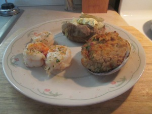 Giant Garlic Shrimp, Stuffed Clams, and Baked Potato 017