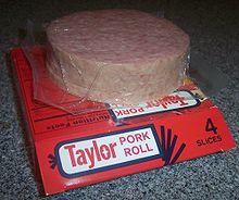 4-slice box of Taylor brand pork roll.