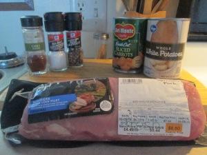 Chili Rub Boneless Pork Loin Fillet  Whole New Potatoes and Sli 001