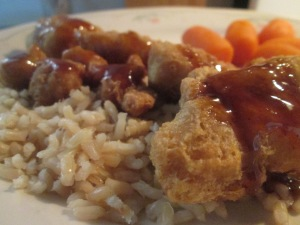 General Tso's Chicken w Brown Rice and Whole Baby Carrots 012
