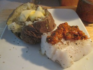 Baked Cod with Tomato Pesto and Baked Potato 013