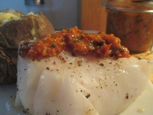 Baked Cod with Tomato Pesto and Baked Potato 014
