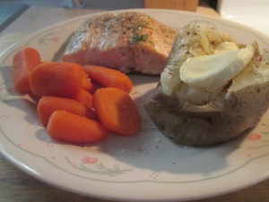 Baked Salmon w Baked Potato and Whole Baby Carrots 010