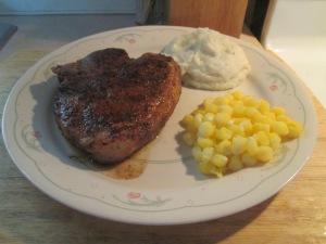 Cumin Spiced Center Cut Pork Loin Chop w Mashed Potatoes and  Go 007