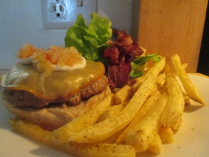 Dutch Smoked Gouda, Bacon, Pork Burger w Baked Shoestring Fries 004