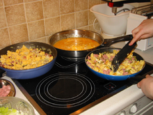 Preparation in pans