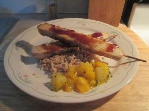 Sweet BBQ Chicken Kabobs w Whole Grain Brown Rice 013