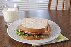 An ordinary bologna sandwich with lettuce and condiments